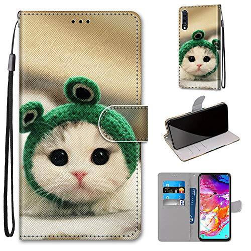 Miagon Flip PU Leder Schutzhülle für Samsung Galaxy A50,Bunt Muster Hülle Brieftasche Case Cover Ständer mit Kartenfächer Trageschlaufe,Frosch Katze