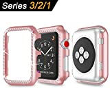 Carcasa Apple Watch Oro Rosa Case, Funda Apple Watch 38mm Protector de pantalla...