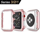 Carcasa Apple Watch Oro Rosa Case, Funda Apple Watch 38mm Protector de pantalla...