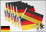 molinoRC | 12x Deutschland-Fahne | WM 2018 | Stockfahne | Fan-Set | Kinder-Fahne BRD | Fähnchen | Deutschland-Flagge | deutsche Marke