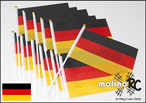molinoRC   12x Deutschland-Fahne   WM EM   Stockfahne   Fan-Set   Kinder-Fahne BRD   Fähnchen   Deutschland-Flagge   deutsche Marke