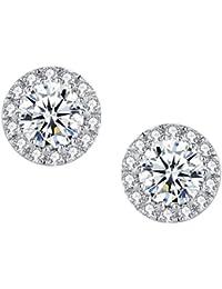 Arco Iris Jewelry Pendientes de plata para las mujeres, halo alrededor de circonio cúbico Semental Pendiente - sy031e1