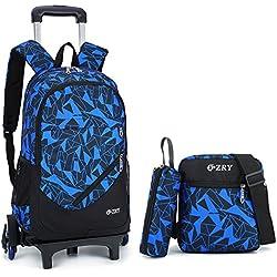 Cadeaux Rentrée Scolaire Trolley Bag Sac à Dos avec roulettes Cartable Roulette Bagages Cabine Loisir Voyage Enfant Fille Garçon 6 Roues 32 * 47 * 19CM