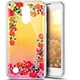 Paillette Coque pour LG K8 2017,LG K8 2017 Coque en Silicone Glitter, LG K8 2017 Silicone Coque fleurs de cerisier roses Housse Transparent Etui Gel Slim Case Soft Gel Cover, Ukayfe Etui de Protection Cas en caoutchouc en Ultra Slim Paillette Bling Diamant Strass Brillante Coque Souple Cristal Clair Gel TPU Bumper Cas Case Cover Coque Couverture Etui pour LG K8 2017