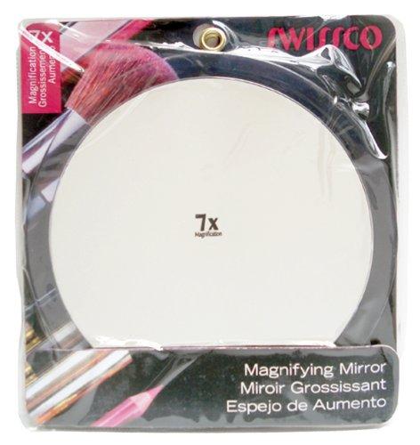 Swissco Miroir grossissant à ventouses - Diamètre de 23,5 cm - Grossissement de 7x