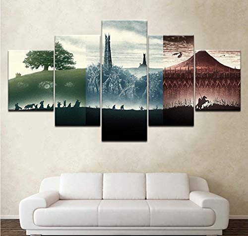 GLORIOUS.YY 5 Teilig Vier Jahreszeiten Modernes Modulares Plakat leinwandbilder Restaurant Cafe Küchen Dekoration Fertig zum Aufhängen -