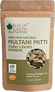 Bliss of Earth™ 100% Pure Multani Mitti Powder   Fuller's Earth Powder   100GM   Great For Hair, Face, Skin