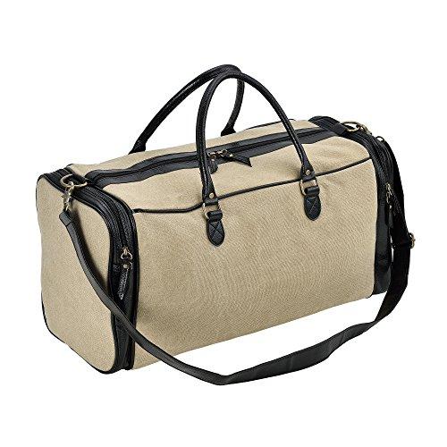 10ce5c9ab3560  neu.haus ® Reisetasche Beige Schwarz Canvas - 27 x 54 x 23 cm Kunstleder  Tasche Sporttasche für Damen und Herren