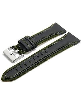 Meyhofer Uhrenarmband Barletta 22mm schwarz/grün Leder/Textil Naht grün MyPlklb3003/22mm/schwarz-gruen