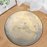 Morbuy Runder Teppich Innenbereich Planet Flur Teppich Wohnzimmer Fussabstreifer Rutschfest und Waschbar Praktische Fußabtreter (60cm, Mond)