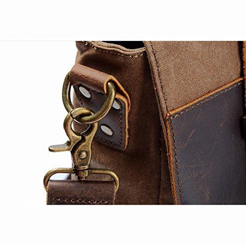 85d5528578c1c ... Y-DOUBLE Vintage Messenger Bag Umhängetasche Aktentasche Schultertasche  14 Zoll Laptoptasche Notebooktasche aus Canvas und ...