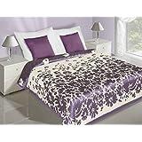 220x240 creme violett Tagesdecke Bettüberwurf zweiseitig Blumen cream violet Blumenmuster