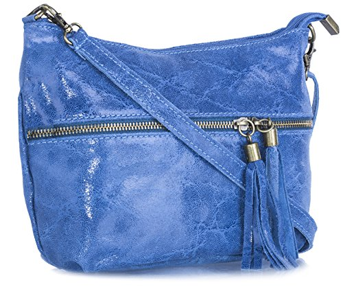 Big Handbag Shop donna vera pelle tasca frontale lunga Tassel Estrattore Borsa Light Denim Blue