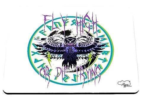 Hippowarehouse Fly High Or Die Tentant Hibou Tatouage Imprimé Tapis de souris accessoire de base en caoutchouc Noir 240mm x 190mm x 60mm, original, taille unique