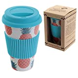 Puckator bambootique Travel Mug with Lid, Pineapple, Bamboo Beige