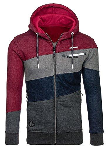 BOLF Herren Kapuzenpullover mit Reißverschluss Baumwollmischung Sweatjacke Hoodie 1A1 Mehrfarbig_2103A