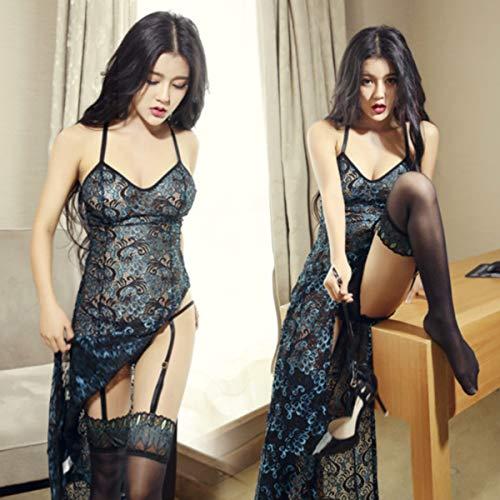 George zhang High-End-Retro-Schlitz Cheongsam Outfit Pfau Federspitze sexy transparente Halter Rock sexy Dessous-Set (Sexy Pfau Outfit)