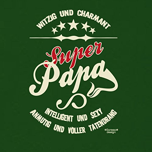 Geschenk-Set :: Super Papa Herren T-Shirt inkl. Urkunde - Geschenkidee als Geburtstagsgeschenk Weihnachtsgeschenk Vatertagsgeschenk Farbe: dunkelgrün Dunkelgrün