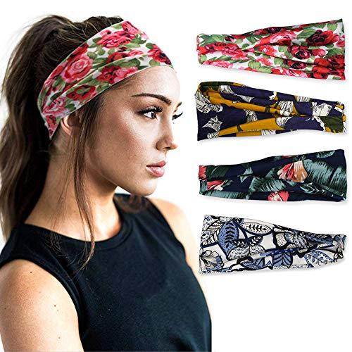 Vegena 4 Stück Stirnband Damen Elastische Blumen Gedruck, Frauen Baumwolle Gestrickte Stirnbänder Dehnbar Haarband Weiche Turban-Kopf-Verpackungs für Alltag Yoga Sport Mode