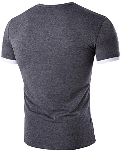 Maglietta Uomo Slim T-Shirt Basic Tee Shirt Manica Corta Grigio scuro
