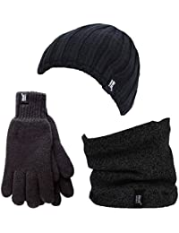 Heat Holders - Thermal Winter Fleece Cable knit Hat, Neck Warmer and Gloves set for Men