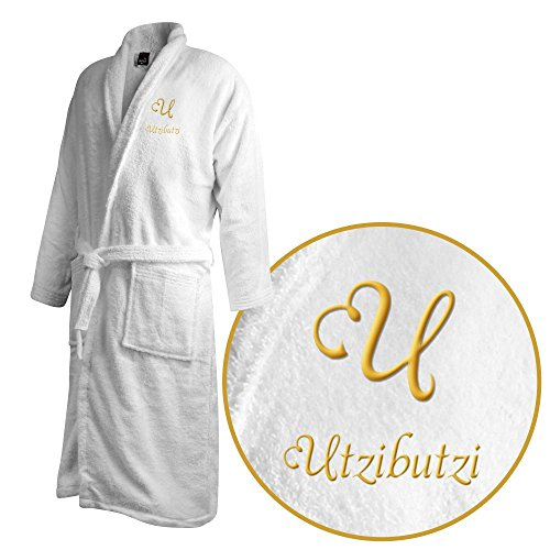 Bademantel mit Namen Utzibutzi bestickt - Initialien und Name als Monogramm-Stick - Größe wählen White