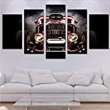 Qwerlp Modern Hd Printed Poster Canvas Painting 5 Pieces Wall Art Hot Rod Red Front View Wheels Modular Car Pictures Home Decor