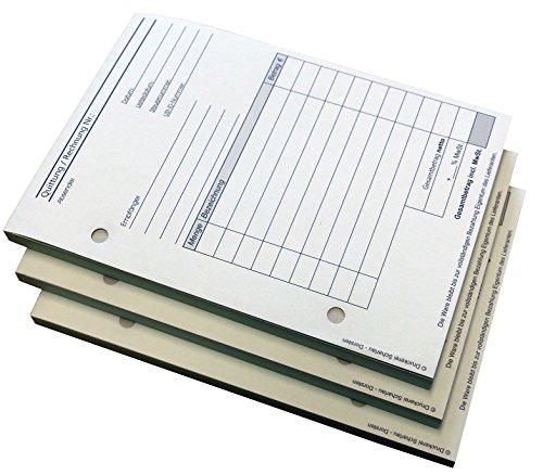 3x Block Rechnung / Quittung - Quittungsblock - 2 x 50 Blatt DIN A6 hoch - gelocht - SD -durchschreibend (22234)