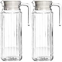 Get Goods Set of 2 New Large 1 Litre Kitchen Fridge Glass Pitcher Water Milk Juice Jugs With Lids