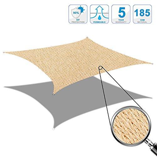 Cool Area 4x6m Rechteck Sonnensegel Sonnenschutz Segel, UV Schutz wetterbeständig HDPE atmungsaktiv...