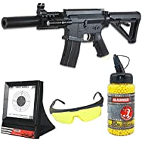 Golden Hawk Airsoft Paquete Completo con Accesorios - Arma para Airsoft, Modelo M4 CQB MOE GE2205ws, con Resorte, 0,5 Julios, Color Negro, Recarga Manual