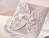 VStoy Hochzeitseinladungen, lasergeschnitten, klassisches Design, inkl. Satin-Schleife, 20 Stück