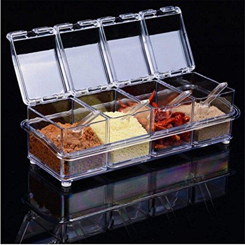 4/Set Küche Acryl Würze jar Set 4Servierlöffel, Spice Lagerung Organizer Box, Spice Shaker Gewürz Box, Speisewürze Flaschen Container mit Schacht für Pfeffer Salz Gewürz–25,8x 9x 7,2cm