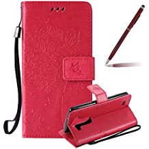 LG G3 Beat Funda, LG G3 Beat Funda Piel, Felfy Puro Realce Gato y el árbol Diseño Cuero Impresión Flip Leather Wallet Libro Billetera Funda Protectora Cierre Magnético con Ranura para Tarjeta Crédito Protectora Funda para LG G3s/G3 mini/LG G3 Beat (Rosa Caliente)+1x Aguja