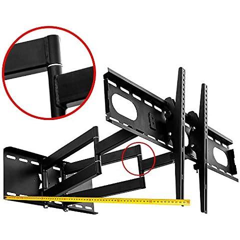 Soporte de montaje en pared para TV (Negro) giratorio, doble brazo, uniones soldadas muy robusto para LCD LED Plasma, 82 - 177 cm (32 - 70 pulgadas), VESA 200x200 mm a 660X400, Distancia de la pared de 10 cm - 65