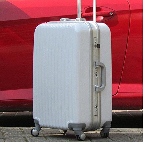 Xiuxiandianju 20 pollici 24 pollici 28 pollici ruota universale leva viaggio impermeabile ABS valigia bagaglio di viaggio White