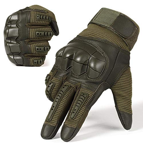 Touch Screen Tactical Vollfingerhandschuh Hard Knuckle Men Women Anti-Skid Handschuh Tactical Gloves Camouflage, Warm-Grün_Russische Föderation_S.