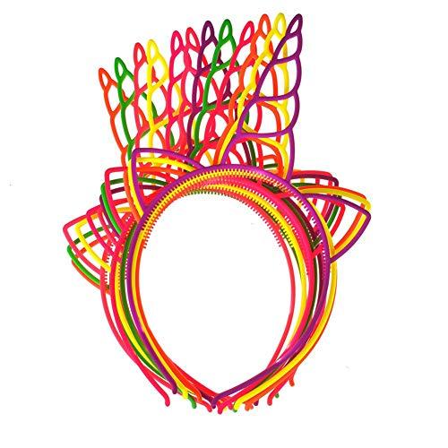 Ndier Packung mit 12 Kunststoff Einhorn Stirnband für Mädchen Teens Kleinkinder Kinder Party Haarbänder |Leuchtende Farbe| Halloweendeko