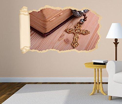 3D Wandtattoo Kreuz Religion Bibel Christ Tapete Wand Aufkleber Wanddurchbruch Deko Wandbild Wandsticker 11N1226, Wandbild Größe F:ca. 140cmx82cm