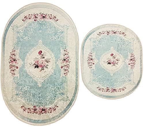 Dora 2- teilig Badgarnitur Oval 60x100cm und 50x 60cm, Badset Vintage für Hänge-WC Badematten Badteppich (blau Creme Rosen Hänge-WC)