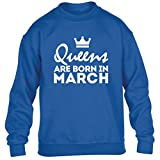 illustratedidentity Queens are Born in March Children's Long Sleeved Jumper Ages 3/4-12/14