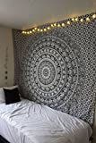 RAJRANG Tapiz Mandala Colgar en la Pared Negro y Blanco Tapices Decorativo Cubierta Decorativa Casera Etnica India del Pano de Tabla Black and White Tapestry 84 x 54 inches