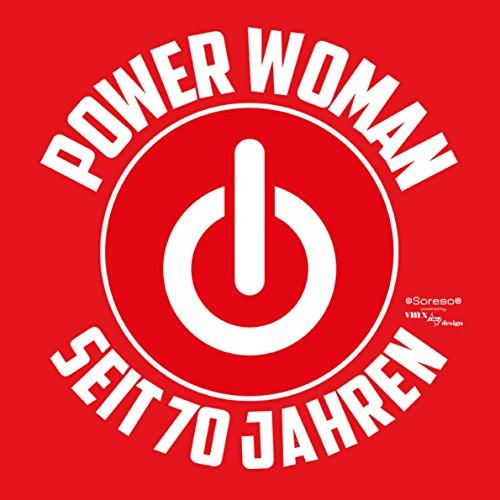 Geschenk für Frauen zum 70. Geburtstag Damen T-Shirt Girlie als Geschenkidee für Sie Mama Mutter Oma Großmutter Power Woman seit 70 Jahren für Powergirl … Farbe: rot Rot