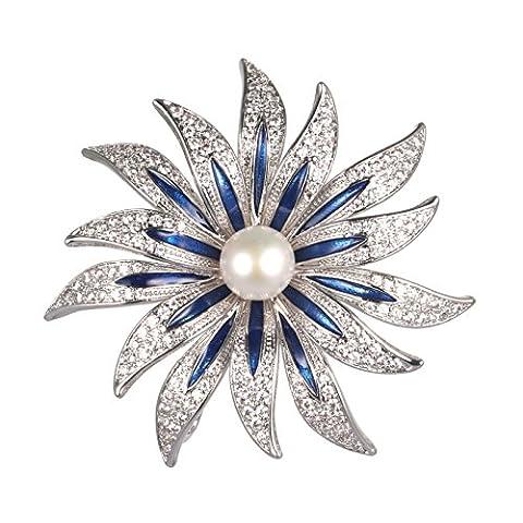 Wowen Brosche Weihnachten Frauen New Fashion Jewelry Güteklasse 4A 9mm Perle Diamant Zirkon Sunflower Brosche Pin