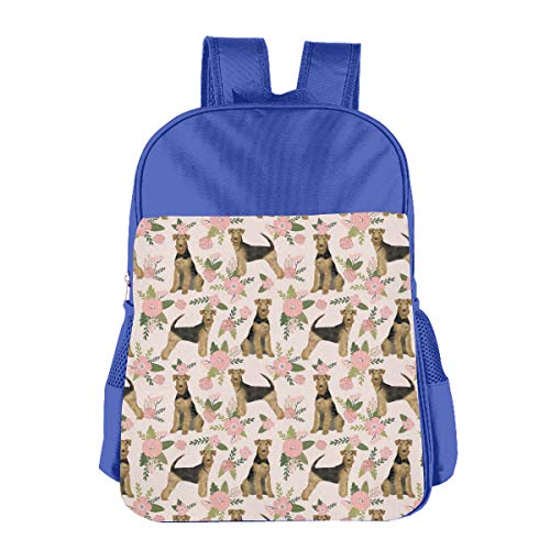 Children's School Bag Airedale Terrier (Smaller) Dog Breed Pet Quilt D Quilt Floral Coordinate Quilt Dog Blue One Size -
