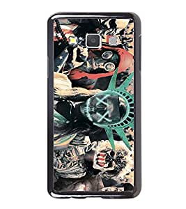 Fuson Designer Back Case Cover for Samsung Galaxy A7 (2015) :: Samsung Galaxy A7 Duos (2015) :: Samsung Galaxy A7 A700F A700Fd A700K/A700S/A700L A7000 A7009 A700H A700Yd (Halloween Costume Statue Of Liberty Masks Gun)