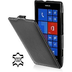 STILGUT Housse en Cuir véritable Compatible avec Nokia Lumia 520, avec Rabat à Ouverture Verticale et Fermeture clipsée, Noir