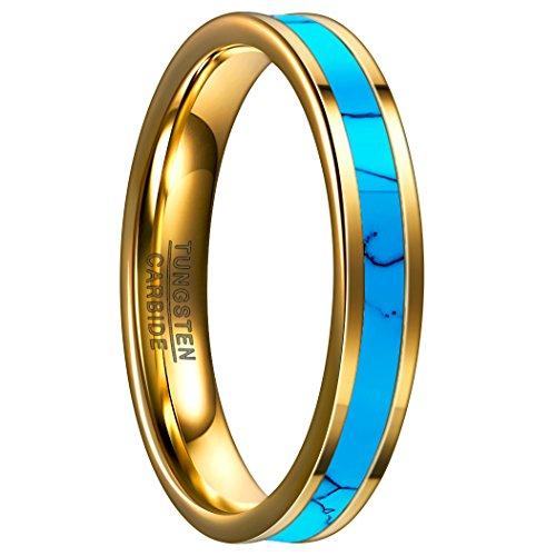Nuncad Ring Damen 4mm gold, Unisex Ring gold mit Türkis Design aus Wolfram für Hochzeit, Arbeitzeit, Verlobung und Trauung, Größe 54 (14)