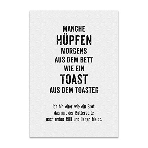 Kunstdruck, Poster mit Spruch – TOAST-BROT – lustiges Typografie-Bild auf hochwertigem Karton - Plakat, Druck, Print, Wandbild mit Zitat / Aphorismus als Geschenk und Dekoration zum Thema Bett, schlafen, müde, wach-werden und aufstehen von TypeStoff (M - 21 x 30 cm)