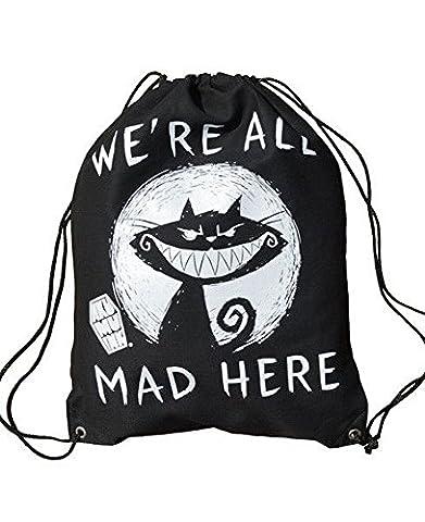 Akumu Ink - Slingbag Turnbeutel - We´re are all Mad Here (Schwarz)